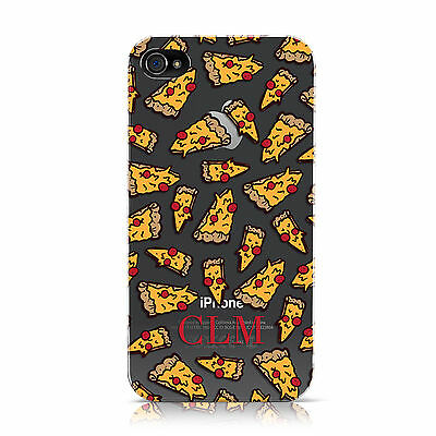 PERSONALISED PIZZA INITIALS CLEAR CASE COVER FOR APPLE IPHONE MOBILE PHONES