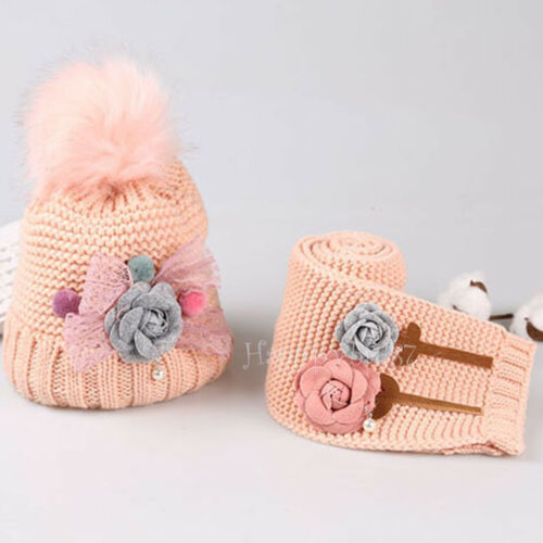 Children Winter Hat and Scarf Set for Toddler Girls Kids Thick Warm Crochet Hat