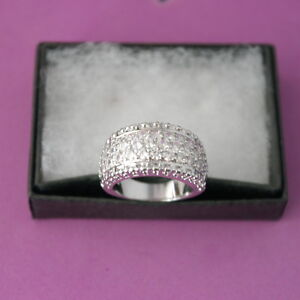 10 Kt. White Gold PG Ring With White Topaz 5.6 Gr. Size N1/2 ONLY In Box