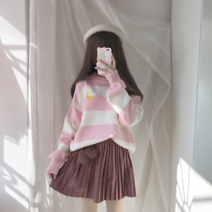Stripe-Mori-Girl-Sweet-Japanese-Kawaii-Embroidery-Sweater-Lolita-Pullover-Loose