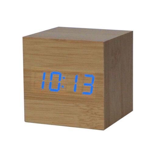 New Square Digital LED Bamboo Wood Desk Alarm Clock For Bedroom Living Room