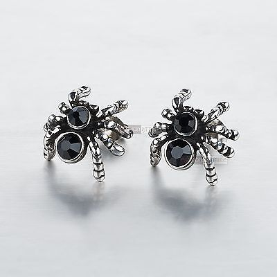 silver stud stainless steel crystal vintage style spider earrings