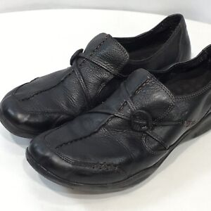 Clarks-Wave-Run-Shoes-Black-9-M-Leather-Comfort-Slip-on