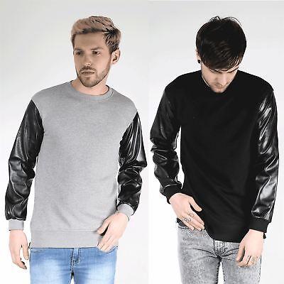 Diskret King Kouture Mens Big Zip Pu Long Sleeve Crew Neck Branded Sweats Sweatshirt Top Erfrischend Und Wohltuend FüR Die Augen
