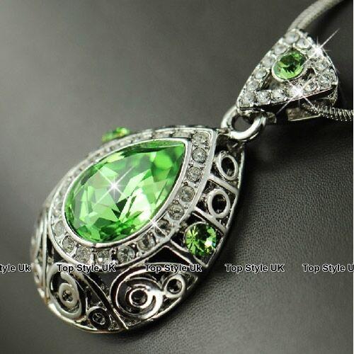 Peridot Tear Drop Necklace Pendant Valentine Birthday Wedding Gift Present