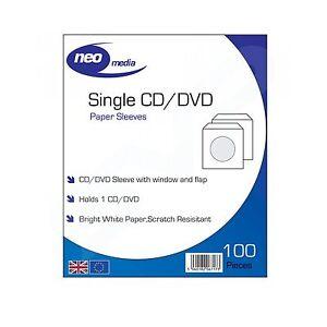 4X Neo Media Papel CD/DVD Funda Protectora/100 por Paquete