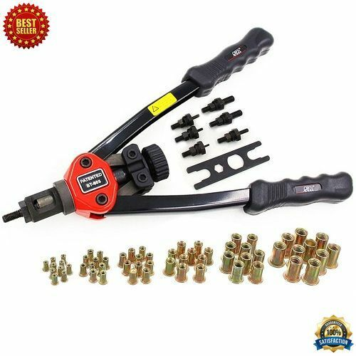 HAND RIVETER Heavy Duty Repair Gun Nut Thread Rivet Tool Kit W  60 Pcs Rivnuts