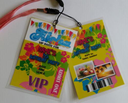 Personalised Hawaiian Beach Party Festival Theme VIP Lanyard for Birthday Invite