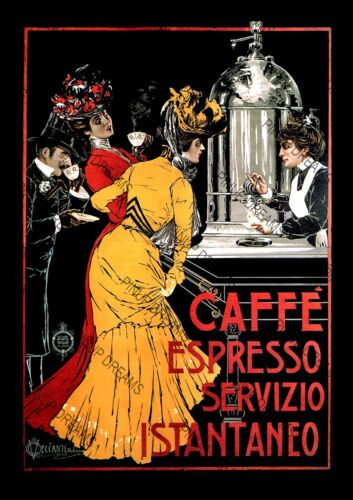 Vintage Caffe Espresso Advert Poster Wall Art Cult Nostalgic re-print