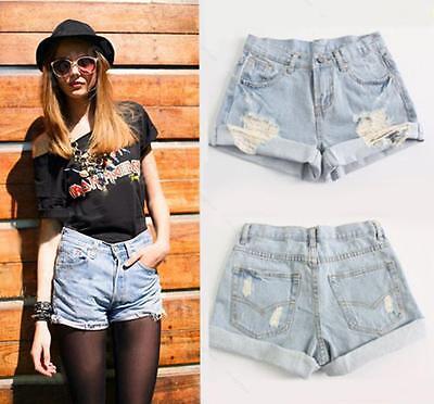 Women Retro Girl High Waist APLE Ripped Flange Hole Wash White Jean Denim Shorts