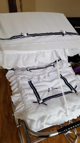 COACH BUILT PRAM IN WHITE//NAVY PRAM CANOPY AND PRAM SET TO FIT SILVER CROSS