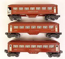 LIONEL SET OF (3) BROWN & GRAY PASSENGER CARS W/(2) #6442 & (1) #6443-VG+ ORIG!