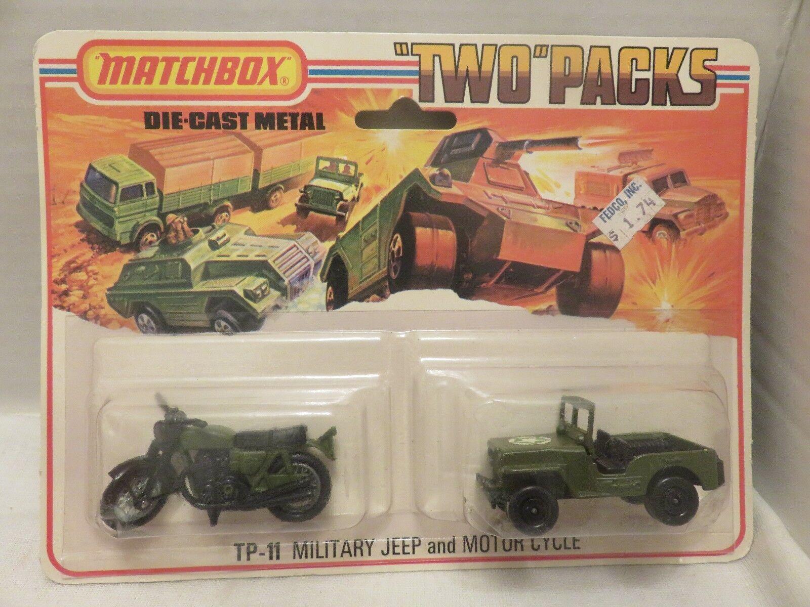 1976 MATCHBOX deux paquets Jeep militaire motor cycle TP-11 Die-cast métal Angleterre C