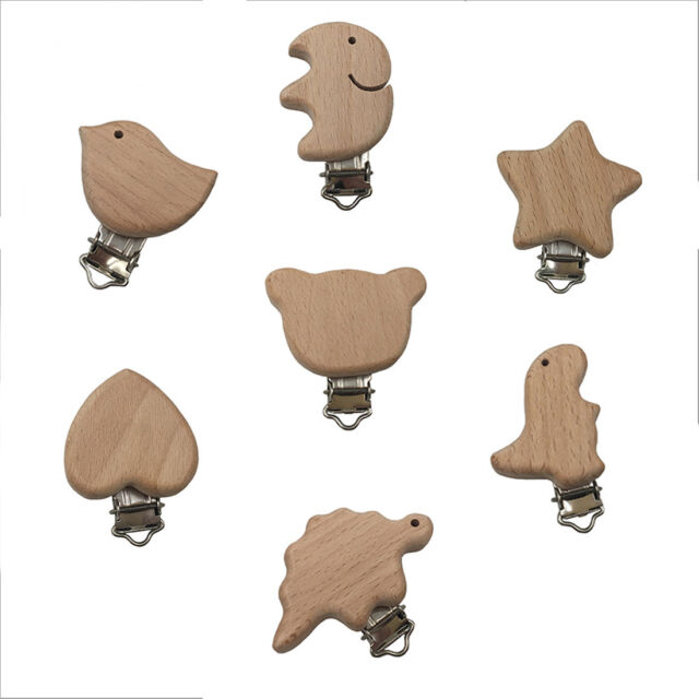 2pcs Natural Wood Cartoon Pacifier Clip Baby molar Teether chain Toys Accessorie