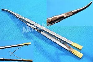 """Deutsche Castroviejo Barraquer Nadel Halter 6"""" gebogene Gold Griff Micro Surgery"""