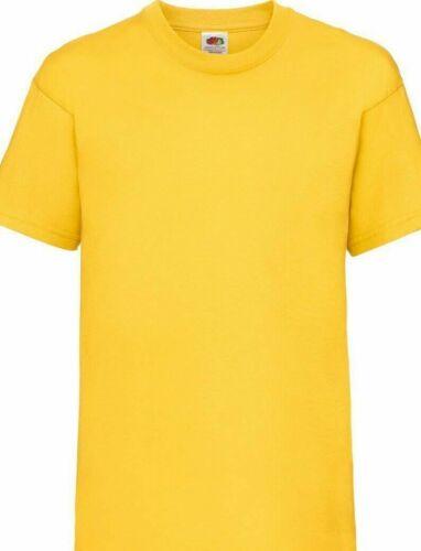 Kids Plain T Shirts Boys Girls School P.E Top Fruit Of The Loom School T Shirts