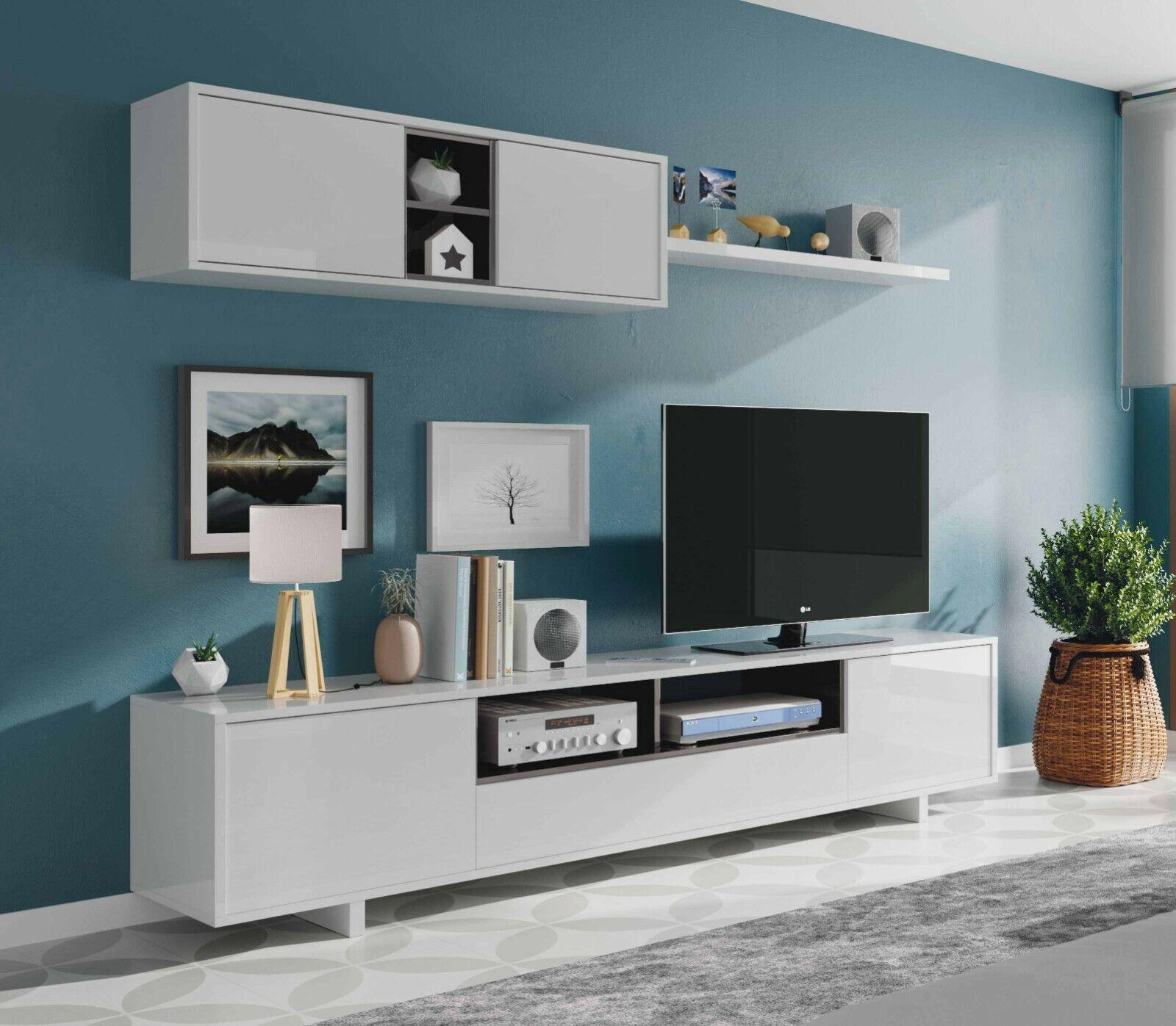 Mueble salon TV modular, color Blanco brillo con detalles en antracita 200cm