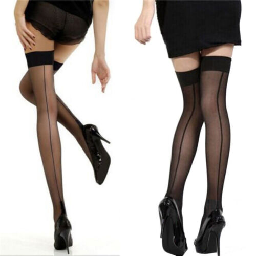 Quality Girl Lady High Stockings Seamed Long Over Knee Heal Seam Thigh High  X3