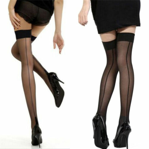 Quality Girl Lady High Stockings Seamed Long Over Knee Heal Seam Thigh High S-t