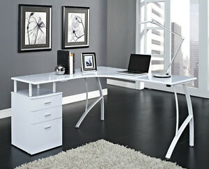 Details About Corner Computer Desk Home Office Pc Table With 3 Drawers L Shaped Black Or White