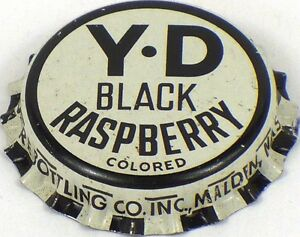 Unused 1950s Y-D Black Raspberry Malden Massachusetts soda Cork Crown Bottle Cap