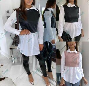Damen-Pu-Kunstleder-Kontrast-Knopfleiste-Kragen-Shirt-Bluse-Kleid-Top