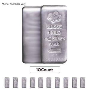 Lot-of-10-1-Kilo-PAMP-Suisse-Silver-Cast-Bar-999-Fine-w-Assay