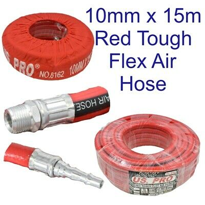 15 Metres 50 Feet Airline Air Hose 10mm Internal Soft Rubber 3/8 Bsp Us Pro 8162