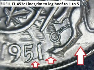 Variety-Zoell-FL453c-Canada-50-cents-1951-Lines-rim-to-leg-hoof-to-1-to-5