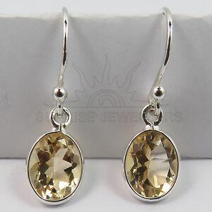 FINE-EDH-Genuine-Fire-CITRINE-Gemstone-Little-Earrings-925-Solid-Sterling-Silver