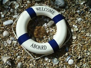 Large-Ships-Life-Ring-Welcome-Aboard-Lifebuoy-Blue-amp-White-510-mm-Boat-Belt-Buoy