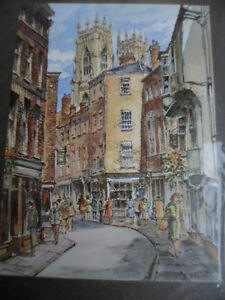 BRAND-NEW-IN-PACKET-SOUVENIR-PAINTING-PRINT-YORK-MINSTER-amp-OLD-SHAMBLES-ENGLAND