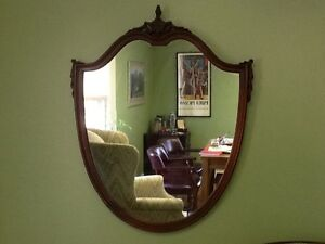 Antique-Mahogany-Shield-Mirror-Federal-Style-c-1920