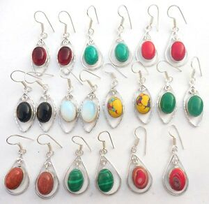 FAMOUS-MIX-GEMSTONE-10PR-WHOLESALE-LOT-925-STERLING-SILVER-OVERLAY-EARRING