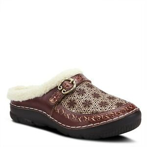 L-039-Artiste-Lecie-Brown-leather-hand-painted-faux-fur-lined-clog-EUR-40-US-9