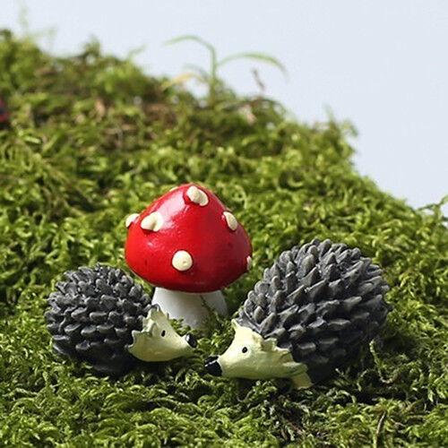 3Pcs//Set Fairy Garden Gnomes Moss Miniatures Mushroom Dot Red with Hedgehog Mini