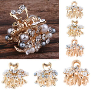 Metal-Full-Pearl-Crystal-Hair-Claw-Clip-Jaw-Flower-Pin-Grip-Clamp-Mini-Clasp