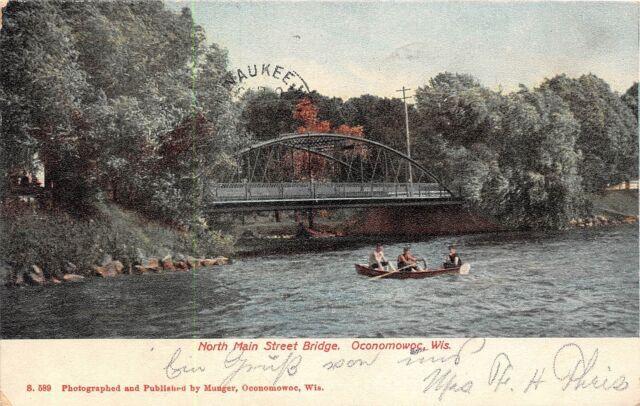 Wisconsin postcard Oconomowoc, North Main Street Bridge ca 1906
