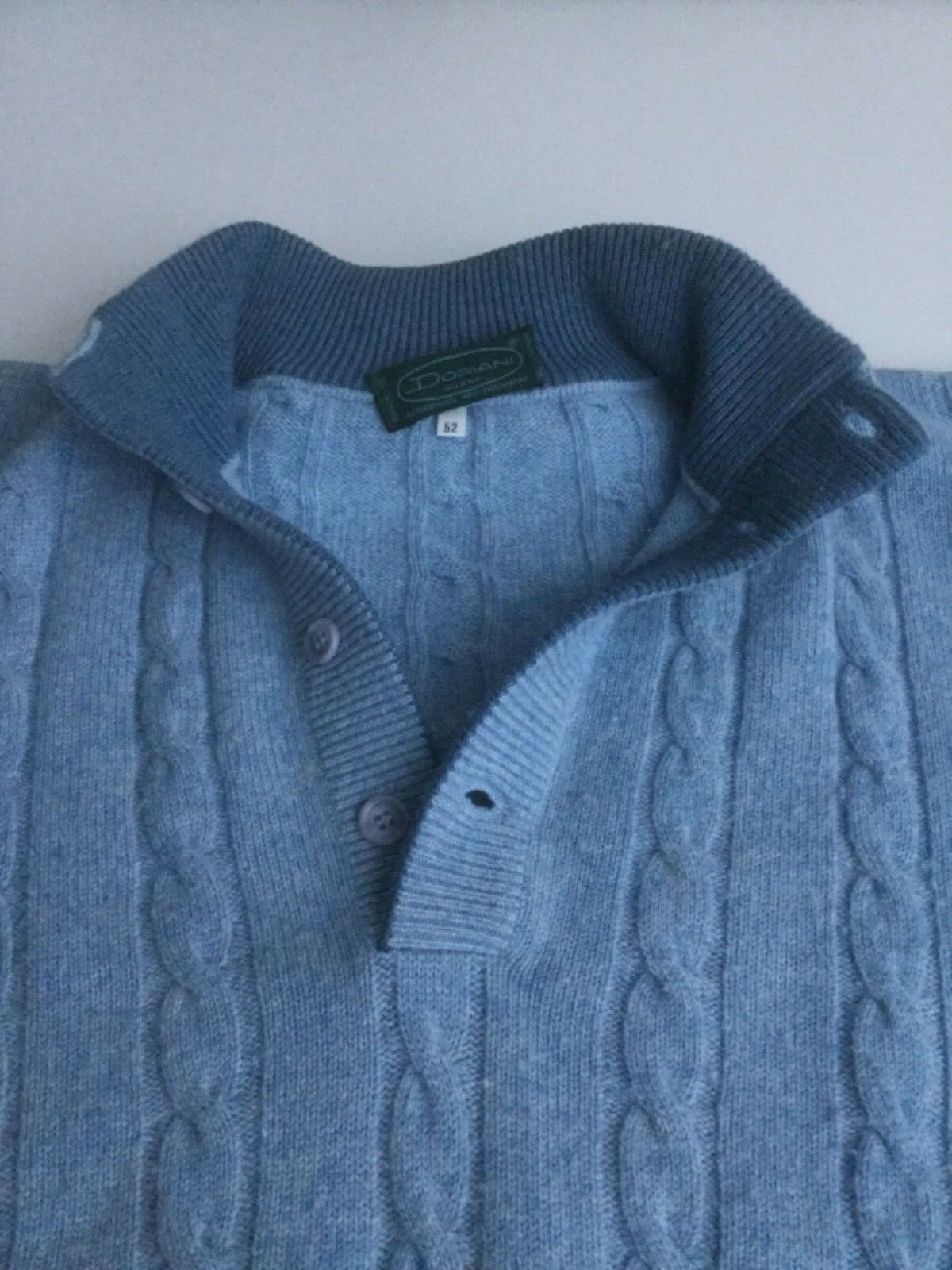 DORIANI 100% CASHMERE LUXURY Herren Blau CABLE KNIT JUMPER SIZE 52