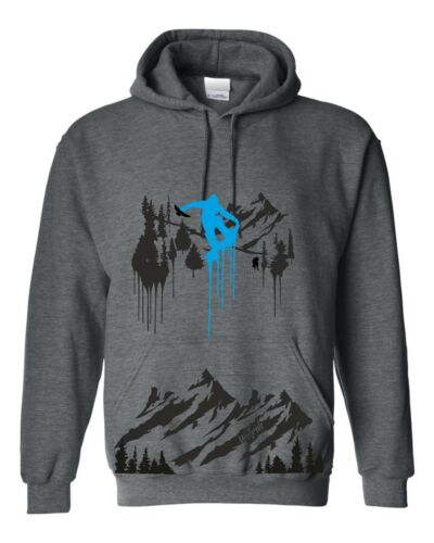 heather grey snowboard top Snowboarder mountain hoodie snow board hooded top