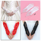 New Pearl lace Bridal glove Wedding Prom Party Costume Long Gloves Fingerless
