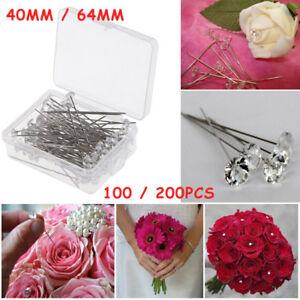 Details About Diamante Diamonte Florist Pins Buttonholes Wedding Bouquet Flowers Pin Craft Diy