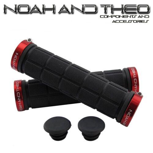 Noah Et Theo Double Lock On Mountain Bike guidon de vélo Grips Noir Rouge