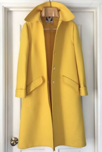 Yellow Rare Vintage Valentino Wool Coat 10 M Mediu