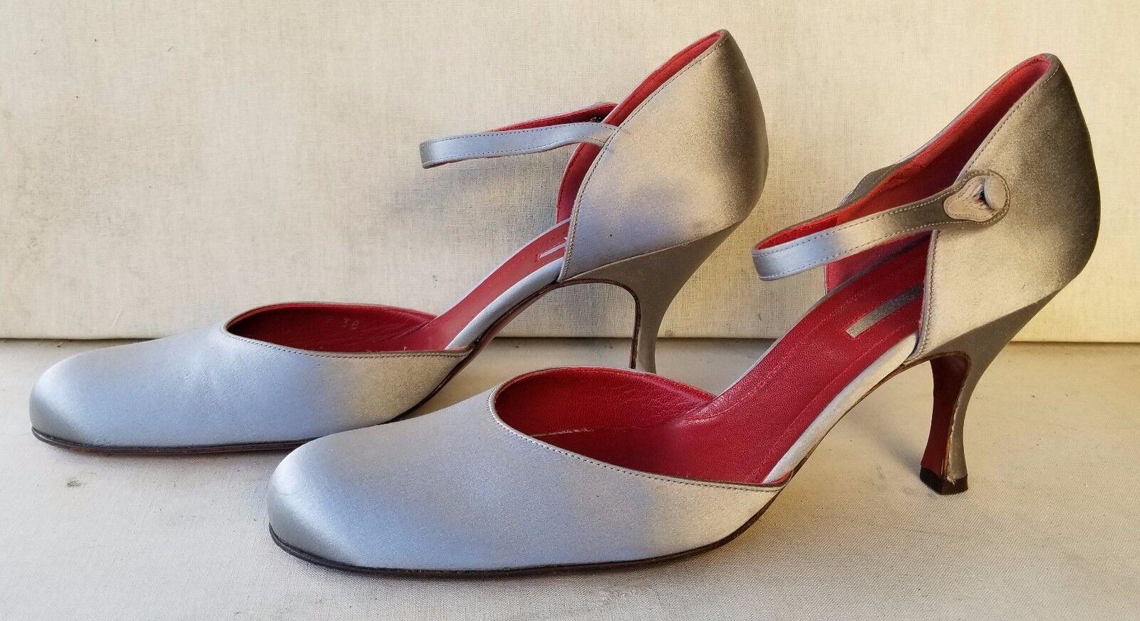 NWOB GIORGIO ARMANI Grigio Silk Satin Ankle Strap Medium Heels SZ 38
