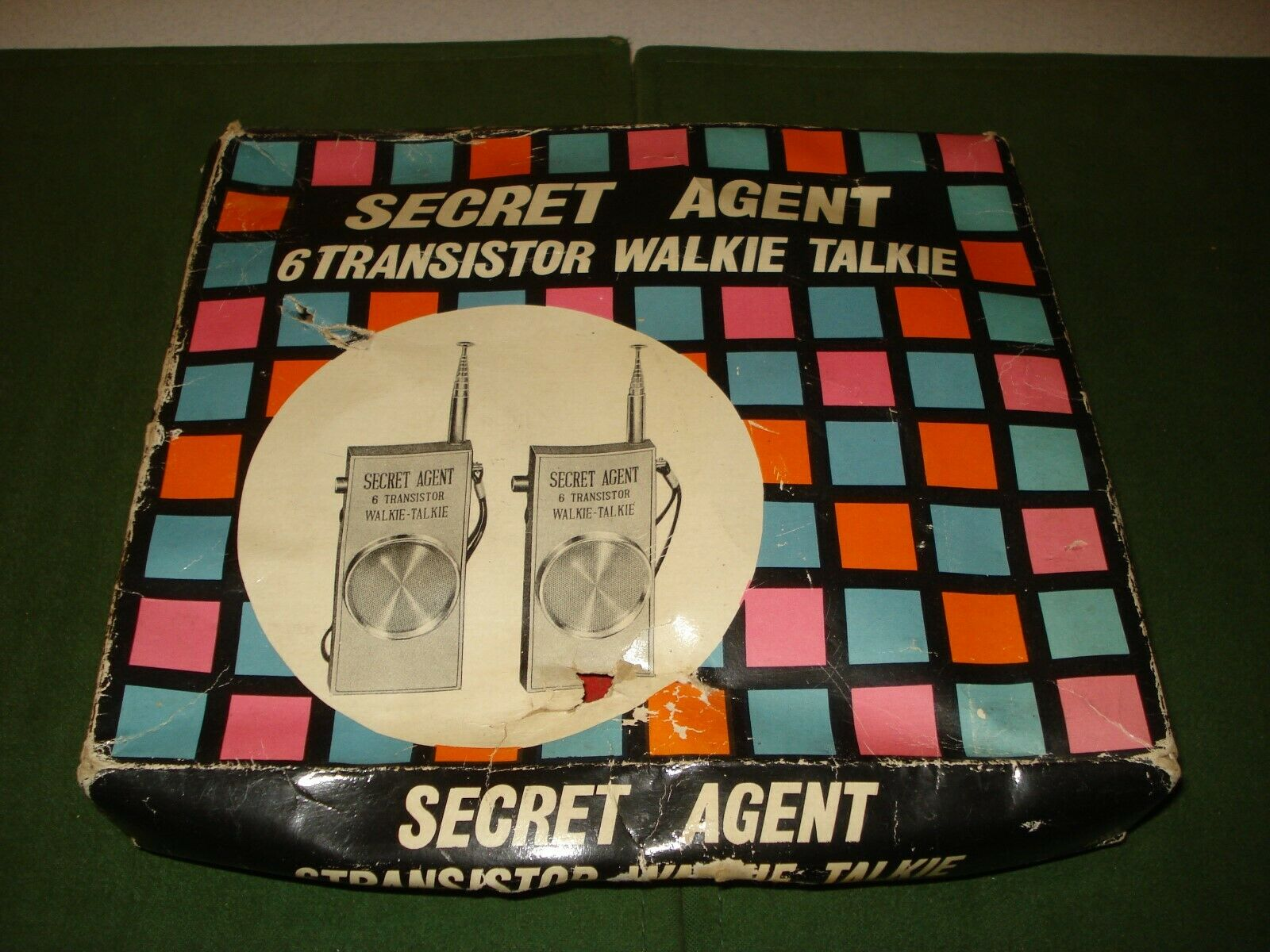 1966 SECRET AGENT WALKIE TALKIE w BOX, JAMES BOND - MAN FROM UNCLE LIKE
