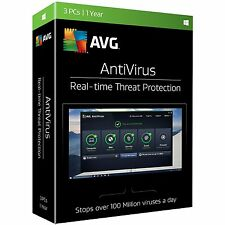 AVG AntiVirus 2017 (3 PCs - 1 Year)  Sealed Retail Box -Brand New, Free Shipping