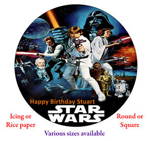Star Wars Personalised Edible Cake Topper Roundsquare Icingrice
