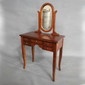 promo code b009d 86454 Details about Solid Mahogany Wood Small Dressing Table & Mirror with 5  Drawers
