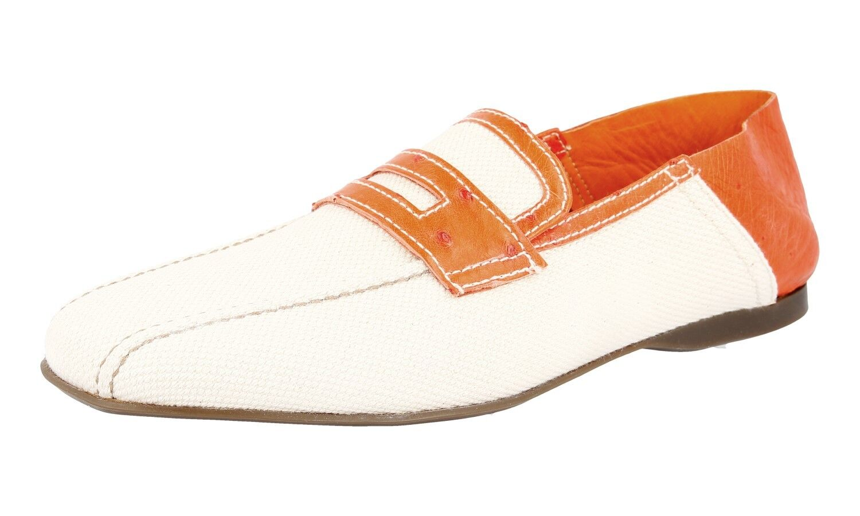 Lujo prada prada prada mocasines zapatos con cocodrilo 2d1488 gris naranja nuevo New 7,5 41,5 42 ade61c